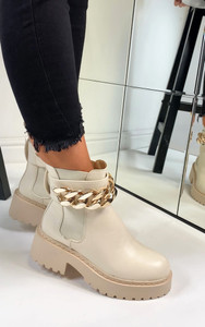 Vienna Chunky Chain Ankle Boots in Beige