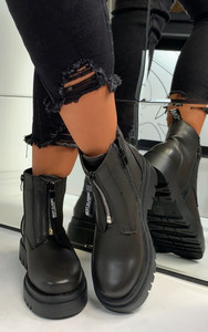 Maia Front Zip Ankle Boots in Black