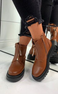Maia Front Zip Ankle Boots in Camel