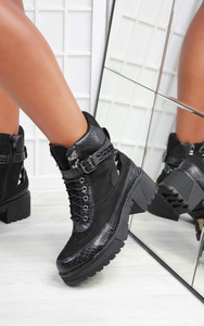 Lilou Lace Up Buckle Ankle Biker Boot in Black
