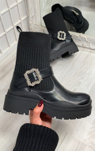Amalfi Knitted Pull Up Chunky Sole Biker Boot in Black
