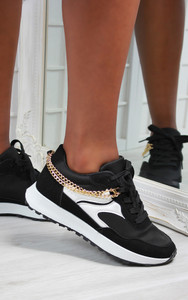 Solange Side Chain Lace Up Trainers in Black