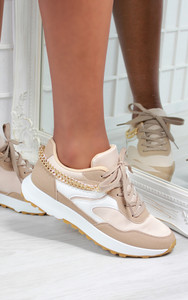 Solange Side Chain Lace Up Trainers in Beige