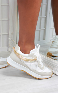 Solange Side Chain Lace Up Trainers in White