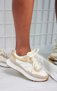 Solange Side Chain Lace Up Trainers in Nude
