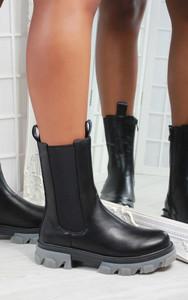 Kelila Contrast Chunky Sole Ankle Chelsea Biker Boot in Black