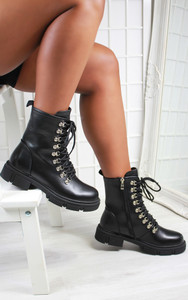 Anais Chunky Sole Lace Up Biker Ankle Boot in Black