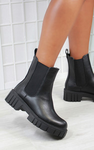 Sidonie Chunky Cleated Sole Chelsea Ankle Boot in Black