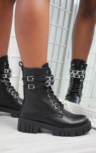 Cerise Double Chain Strap Chunky Sole Biker Ankle Boot in Black