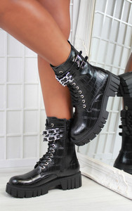 Cerise Double Chain Strap Chunky Sole Biker Ankle Boot in Black Croc Patent
