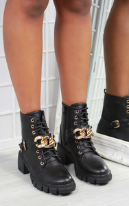Loulia Gold Chain Chunky Sole Biker Ankle Boot in Black
