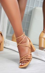 Nami Block Heel Square Toe Strappy Sandals in Camel