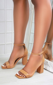 Mabel Barely There Block Heel Square Toe Sandals in Camel