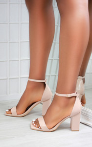 Mabel Barely There Block Heel Square Toe Sandals in Nude