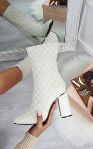 Erin Quilted Block Heel Square Toe Ankle Boots in Cream
