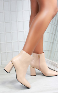 Aurora Block Heel Pointed Toe Ankle Boots in Nude