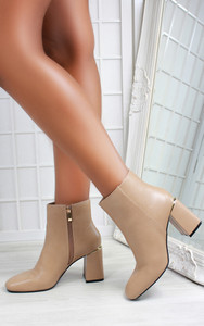 Aurora Block Heel Pointed Toe Ankle Boots in Mocha