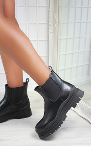 Delilah Chunky Clear Sole Chelsea Ankle Boot in Black