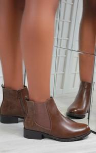 Aidan Chelsea Low Heel Ankle Boots in Brown