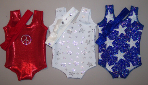 "3 doll leotards in the printed, hologram and/or metallic spandex fabrics shown.  Jillybeans 18"" doll leotards were made to fit the American Girl Dolls, but will fit most other 18"" similar body type dolls, including My Life and Our Generation.  All items will be tagged and bagged prior to shipment. FREE SHIPPING ON OUR DOLL LEOTARDS!"