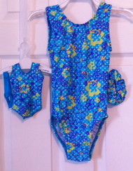 ONLY 1 AVAILABLE! Closeout tank style gymnastics leotard and coordinating doll leotard in the print shown.  Free scrunchie as always!