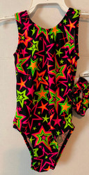 Gymnastics and/or dance leotard in a black with neon stars spandex.  Available in tank or racer back. Free scrunchie included.