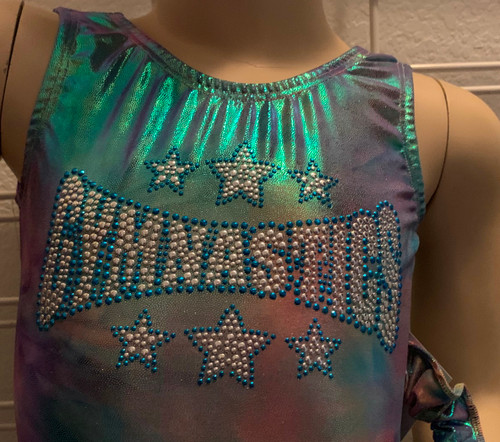 Gymnastics and/or dance leotard in a beautiful pastel tie-dye spandex with Gymnastics Star applique.  Available in tank or racer back. Free scrunchie included.