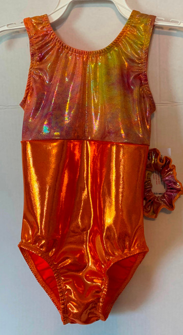 Gymnastics and/or dance leotard in a beautiful orange tie-dye metallic spandex split with solid orange metallic spandex.  Available in tank or racer back. Free scrunchie included.