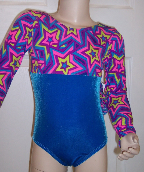 Cute long sleeve gymnastics and/or dance leotard in a STAR CRAZED spandex print split with coordinating turquoise velvet. Free scrunchie as always.