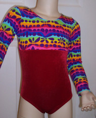 Cute long sleeve gymnastics and/or dance leotard in a DARE TO TRY spandex print split with coordinating red velvet. Free scrunchie as always