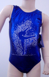 Beautiful gymnastics and/or dance leotard in blue mystic spandex with a large, beautiful GRACEFUL GYMNAST rhinestone applique on front. Available in tank or racer back styles. Free scrunchie included as always!