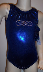 Beautiful gymnastics and/or dance leotard in a royal blue mystique spandex with crystal rhinestone infinity applique.  Available in tank or racer back. Free scrunchie as always!