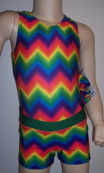 Cute tank style gymnastics and/or dance leotard in a bold colored chevron spandex.  Coordinating bold chevron shorts with green waistband included. Free scrunchie as always!