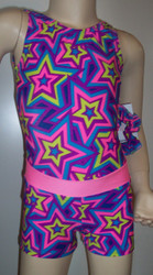 Cute gymnastics and/or dance leotard in a STAR CRAZED spandex. Coordinating STAR CRAZED shorts with pink waistband included. Available in tank or racer back. Free scrunchie as always!