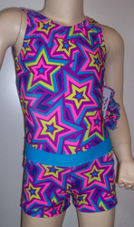 Cute gymnastics and/or dance leotard in a STAR CRAZED spandex. Coordinating STAR CRAZED shorts with turquoise waistband included. Available in tank or racer back. Free scrunchie as always!