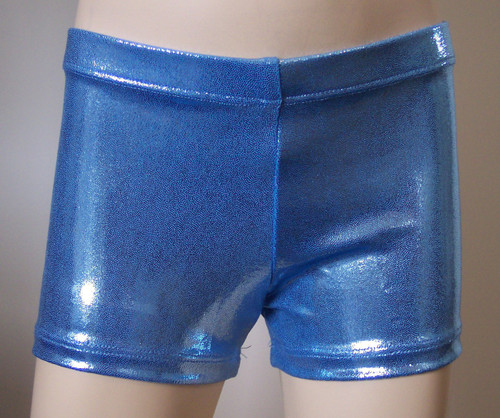 Perfectly priced light blue mystique spandex gymnastics and/or dance shorts.