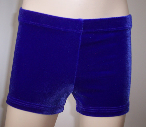 Perfectly priced purple velvet gymnastics and/or dance shorts.