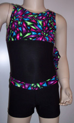 Cute gymnastics and/or dance leotard in a SHATTERED GLASS spandex split with black spandex. Coordinating black spandex shorts with SHATTERED GLASS waistband included. Available in tank or racer back. Free scrunchie as always!