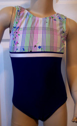 Great gymnastics and/or dance leotard in a HIP-TO-BE-SQUARE spandex print with row of white trim, split with royal blue spandex. Available in tank or racer back. Free scrunchie as always!