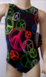 Cute gymnastics and/or dance leotard in a PEACE TIME spandex. Available in tank or racer back. Free scrunchie as always!