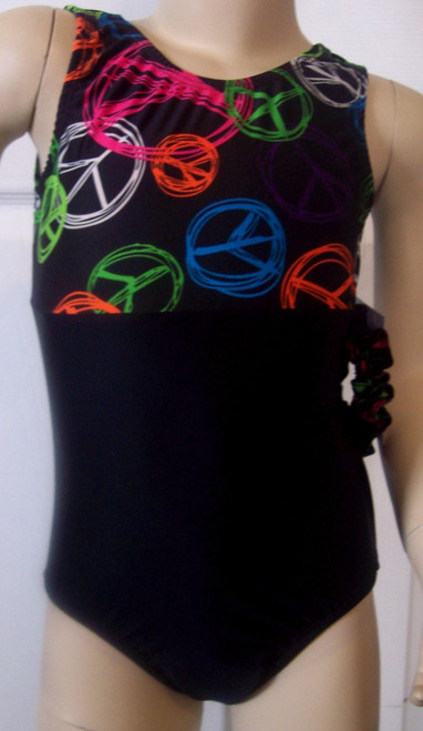 Cute tank style gymnastics and/or dance leotard in a PEACE TIME spandex split with solid black spandex. Free scrunchie as always!