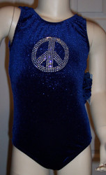 Cute gymnastics and/or dance leotard in a PEACE SPARKLE NAVY velvet. Available in tank or racer back. Free scrunchie as always!