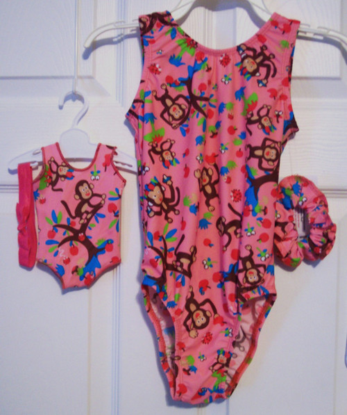 """Tank style gymnastics leotards in a cute MONKEY LOVE spandex - one for you and one for your 18"""" doll.  Free scrunchie included for you, and free headband for your doll. This doll leotard was made to fit the American Girl dolls, but will fit most similar body type 18"""" dolls."""