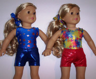 """MIX & MATCH - 2 leotards, 2 pair shorts, and 2 scrunchies in the hologram and/or metallic spandex fabrics shown.  Jillybeans 18"""" doll leotards were made to fit the American Girl Dolls, but will fit most other 18"""" similar body type dolls, including My Life and Our Generation.  All items will be tagged and bagged prior to shipment. FREE SHIPPING ON OUR DOLL LEOTARDS!"""