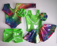 "MIX & MATCH - 2 leotards, 1 pair shorts, 1 skirt and 2 scrunchies in the hologram and/or metallic spandex fabrics shown.  Jillybeans 18"" doll leotards were made to fit the American Girl Dolls, but will fit most other 18"" similar body type dolls, including My Life and Our Generation.  All items will be tagged and bagged prior to shipment. FREE SHIPPING ON OUR DOLL LEOTARDS!"