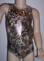 Gymnastics and/or dance leotard in a metallic FIERCE spandex.  Available in tank or racer back. Free scrunchie included.