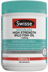 Wild Fish Oil Odourless High Strength 1500mg 200 Caps Swisse UltiBoost