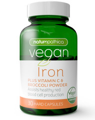 Vegan Iron Plus Vitamin C & Broccoli Powder 30 Caps x 3 Pack Naturopathica