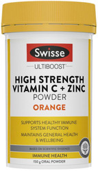 High Strength Vitamin C + Zinc Powder Orange 150g Swisse UltiBoost