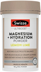 Magnesium Powder + Hydration Powder 180g Lemon Lime Swisse UltiBoost